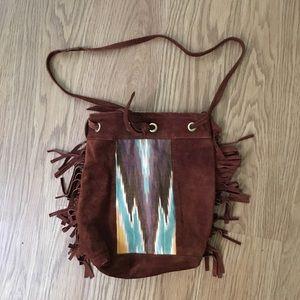 Grace Design suede shoulder bag with fringe
